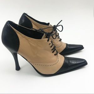 Bebe Lace Up Leather Oxford Booties Heels 6
